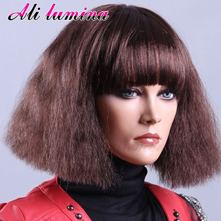 Short African American Afro Kinky Curly Synthetic Lace Front Wig Lace Front Synthetic Wigs Bob Ombre Red Cheap Wigs For Women<br><br>Aliexpress