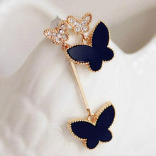 Korean Jewelry Invincible Delicate Heart Imitation Diamond Earrings Wholesale Asymmetric Clover Female Personality