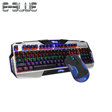 E-3LUE Gaming Keyboard+Gaming Mouse PMW3310 Chip 5000DPI Support Mouse Macro Red/Brown Swtich Colorful LED Lighting EMS668+K729(China)