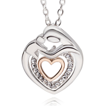 Choker Necklace Mothers Day Gift Mom And Baby Necklace Crystal Rhinestone Heart Pendant Necklace For Women Statement Jewelry(China)