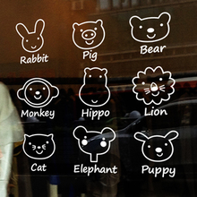 Free shipping Pet shop Glass stickers cartoon animal set child real decoration wall stickers door wall decals
