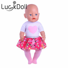 1 set=shirt+skirt+pants Fit 18 inch American girl doll,43 cm New Baby Born Zapf best gift for kids free shipping(Only clothes)