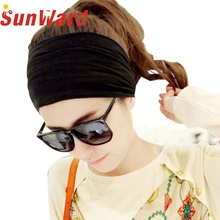 Stylish high quality Vintage Wide Ribbon Headband Hair Band Bandanas Scarf New Fashion Party Black