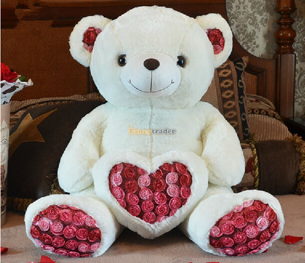 Fancytrader 75cm Lovely Giant Stuffed Teddy Bear Rose  Plush Toy White Nice GIft For Girl One Piece Free Shipping<br><br>Aliexpress