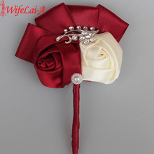WifeLai-A 2Piece/lot dark Red Diamond Wedding Corsages Boutonniere Groom wedding Flowers Boutonniere Brooch Flower Pin X1102