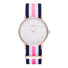2017 Brand Clock Woven strap sports watches Metal button women's watch Casual Couple Various styles 18 color Quartz Wristwatches(China)