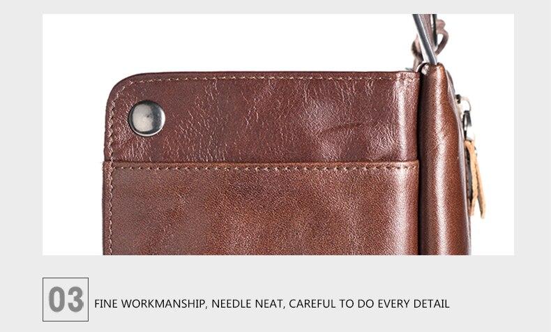 LUENSRO Wallet Leather Vintage Wallets Men Genuine Leather Wallet Zipper Card Holder Purse Long Coin Purse Money For iPhone7S (16)