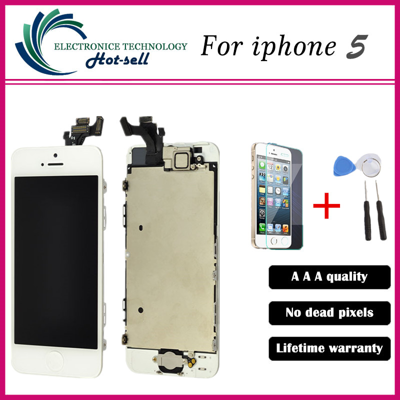 Black Full Front Touch Screen Digitizer LCD Display Repair Assembly Replacement for iPhone 5 LCD Display +Tempered glass+Tools<br><br>Aliexpress
