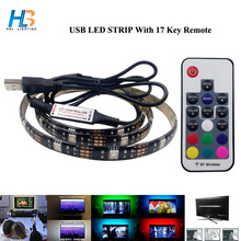 HBL 5050 USB LED Strip light RGB Waterproof DC 5V TV Background rgb led light with 17key RF Controller or 3k mini remote 1M/2M(China)