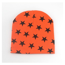 WomensDate Hot Sale 1Pcs Autumn Winter Children Orange Hat Baby Unisex Beanie Star Print Toddlers 100% Cotton Knitted Cap