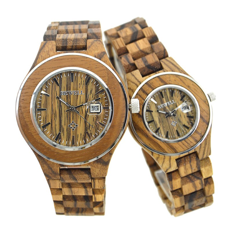 BEWELL Couple Wooden Quartz Watch Men and Women Lovers 30M Water Resistance Date Display Fashion Watches for Your Family 100AG<br>