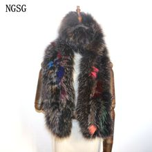 Women Scarves Fox Fur Scarf 160 cm Length Scarves Scarf Female Patchwork Type Genuine Fur Material NGSG Name Brand ER4021-9(China)