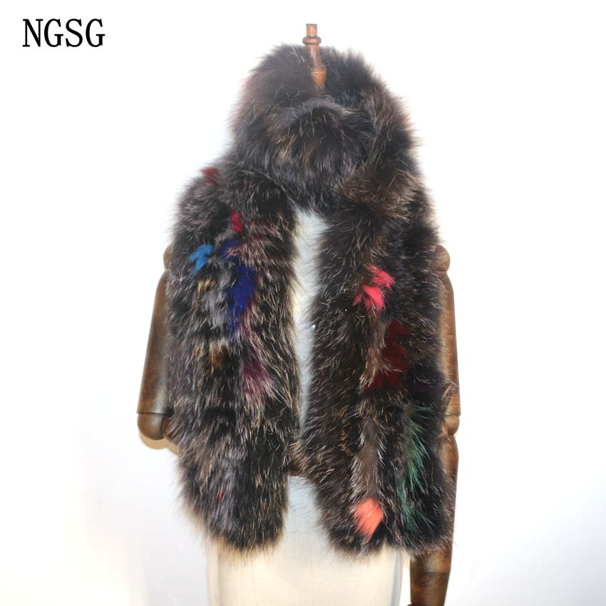 Women Scarves Fox Fur Scarf 160 cm Length Scarves Scarf Female Patchwork Type Genuine Fur Material NGSG Name Brand ER4021-9(China (Mainland))
