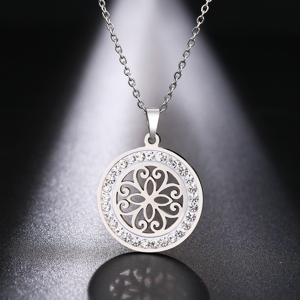 Cacana Stainless Steel Crystal Round Pendants Necklace Women Jewelry Hollow Trendy Necklaces Donot Fade Valentine's Day Gift (7)