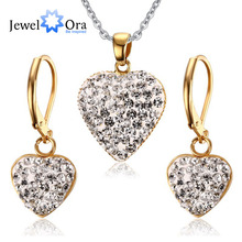 Trendy Heart Rhinestone Drop Earring & Necklace Sets Stainless Steel Jewelry set For Women Party Accessories (JewelOra JS100567)