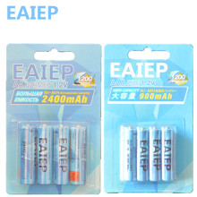 EAIEP 4Pc/1card 1.2V (1600mAh-2400mAh) AA Batteries+4Pcs/1card (600mAh-900mAh) AAA Batteries NI-MH AA/AAA Rechargeable Battery