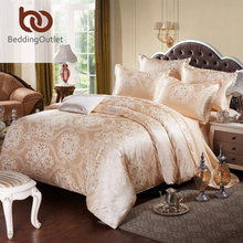 BeddingOutlet Gold Bedding Set Noble and Elegant Duvet Cover Tribute Silk Qualified Bed Linen Queen King 4pcs(China)