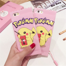 Pink cute Pokemon Pika Cases Cover For Apple phone shell 6 6 s 7 Plus Biscuit candy chocolate Pikachu type digital TPU Soft Case(China)