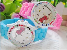 Quartz Silicone Strap Rhinestone Cartoon Hello Kitty Watch Women Kid Fashion Casual watch 10color(China)