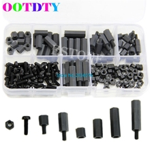 160Pcs/set M3 Nylon Black M-F Hex Spacers Screw Nut Assortment Kit Stand off Set Box MY2_30