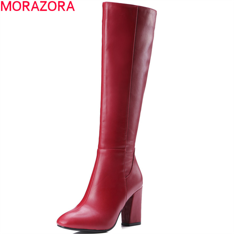 MORAZORA black red women autumn boots square heel zipper ladies boots square heel high quality pu fashion knee high boots<br>