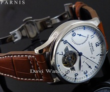 43mm Parnis Luxury Power Reserve Chronometer	 Seagull movement mens deployant date watch
