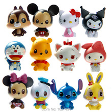 12pcs Pop Disny Anime Mickey Minnie Mouse Funko PVC Action Figures Hello Kitty Doraemon Figurines Kids Toys For Boys Girls