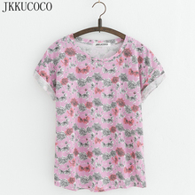 Buy JKKUCOCO New Style Small Flowers t-shirts Cotton t shirt Women Tops Short Sleeve T shirt Casual Summer Tees Hot Tops 20 Models for $6.50 in AliExpress store