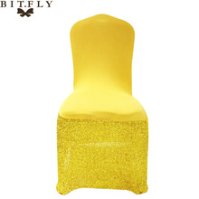 European style 4Pcs bling Gold Elastic Universal Chair Covers for Weddings Dining Banquet Hotel Party diy decoration favor