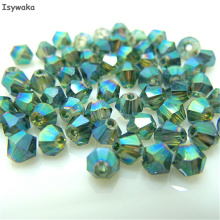 Isywaka Sale Hot Green 200pcs 4mm Bicone Austria Crystal Beads charm Glass Beads Loose Spacer Bead for DIY Jewelry Making