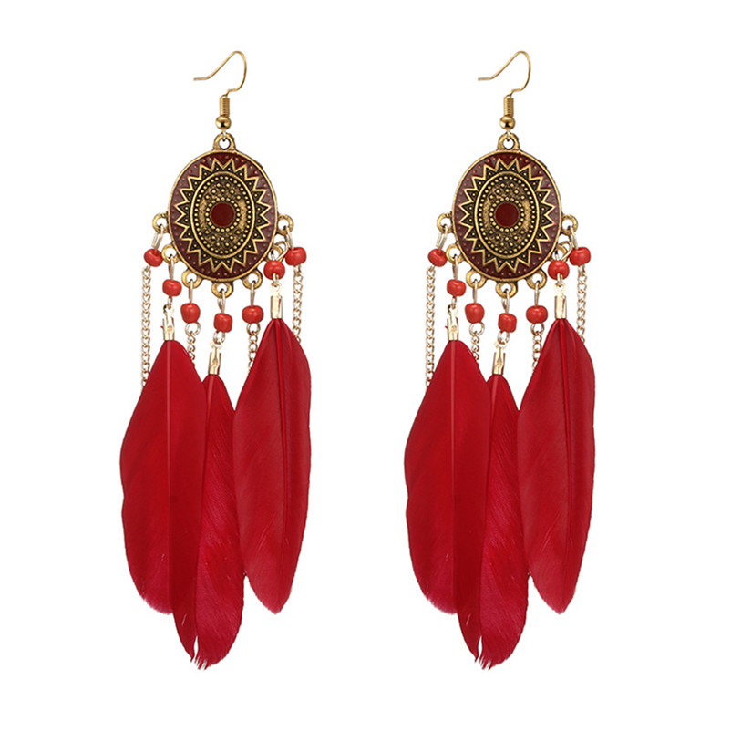 2018 Trendry Earrings for Women Vintage Women Bohemian Fashion Weave Tassel Earrings Long Drop Earrings Jewelry Brincos J05#N (6)