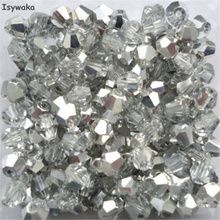 Isywaka Half Silver Color 100pcs 4mm Bicone Austria Crystal Beads charm Glass Beads Loose Spacer Bead for DIY Jewelry Making