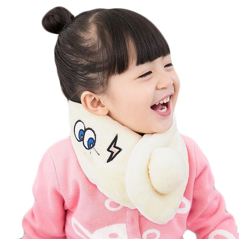 Children Scarves Autumn Winter Cartoon Embroidery Eyes Plush Collar Boy Girl Scarf Baby Cute Warm Scarf Kid Outdoor Thick Scarf