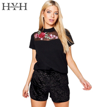 HYH HAOYIHUI Fashion Floral Embroidery T-shirts Women Clothing Lace Patchwork Sheer Pullover Tops Black Brief Vintage Tees(China)