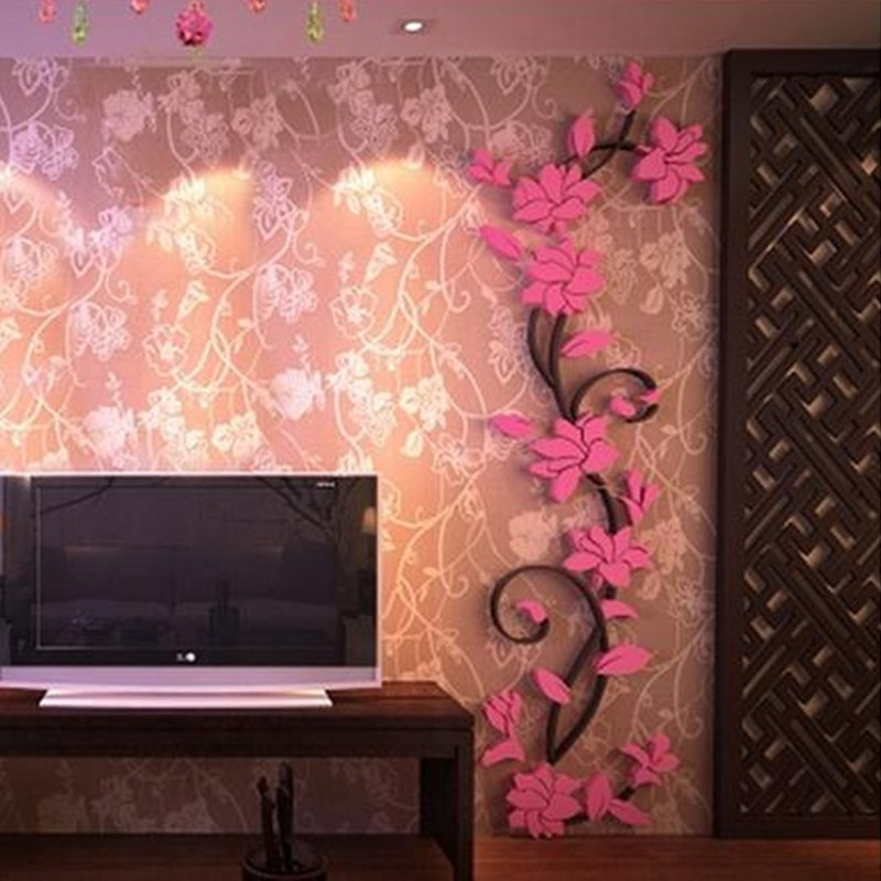 HTB1Cq3Ab63z9KJjy0Fmq6xiwXXam - Hoomall Acrylic Flower Wall Stickers Poster New Year Decorations Removable Stickers for Kitchen DIY Wall Stickers for Kids Rooms