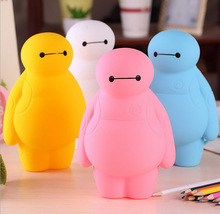 Cute Cartoon Baymax Silicone Pencils Bags Cute 3D Plush Pencil Case 2017 New Large Capacity School Supplies Stationery Pen Box(China)