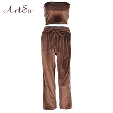 ArtSu Two Pieces Women Set Sexy Crop Top and Pants Sets Velvet Fitness Tracksuits Striped Casual Fashion Ladies Suits ASSU20086(China)
