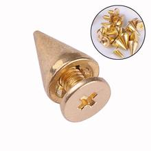 WITUSE 50pcs/lot trendy 10mm golden spots cone screw metal studs rivet bullet spikes ES2189(China)