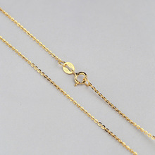 Fine Cable 0.8 mm thickness 925 Sterling Silver Chain Necklace 45 CM & 40 CM length White/Yellow/Rose Gold Color(China)