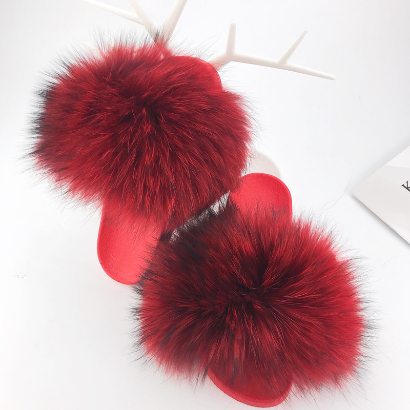 Real Red Raccoon Fur Slippers Women 2018 Slides Fox Hair Flat Fluffy Fashion Home Summer Big Size Natural Furry Flip Flops Shoes