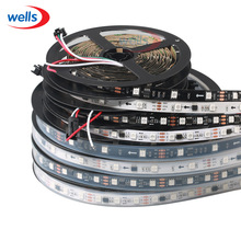 WS2811 led strip 5m 30/48/60 leds/m,10/16/20 pcs ws2811 ic/meter,DC12V White/Black PCB, 2811 led strip Addressable Digital(China)