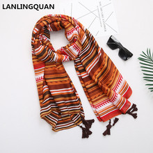 2017 Luxury Brand Scarf Elegant art New Print Tassel Large Size Cotton Femal Scarves Pashmine Soft Shawls Autumn Winter Scarf(China)