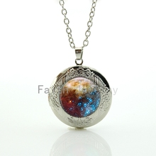 Novelty funny outer space Nebulae pendant romantic galaxy nebula star image locket necklace fantasy starlit night jewelry HH282(China)