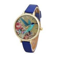 Fashion graceful watch Blue Hummingbird Women Leather Band Analog Quartz Movement Wrist Watch Dropshipping Free Shipping NA26