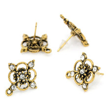 50PCs Rhinestone Plum Blossom Earring Post Gold Tone W/Stoppers