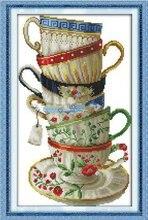 Элегантный чашки кофе кросс комплект стежка насчитал белый 18-каратное 14ct 11ct ситец шелк вышивка DIY ручной работы рукоделие ремесло(China)
