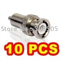 10pcs/lot BNC male to RCA male connector Adapter for Video Cable Free shipping