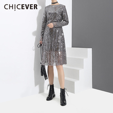 Buy CHICEVER 2018 Spring Sequins Women Dress Female Long Sleeve Loose O neck Pullovers Women's Dresses big Size Clothes New for $27.20 in AliExpress store