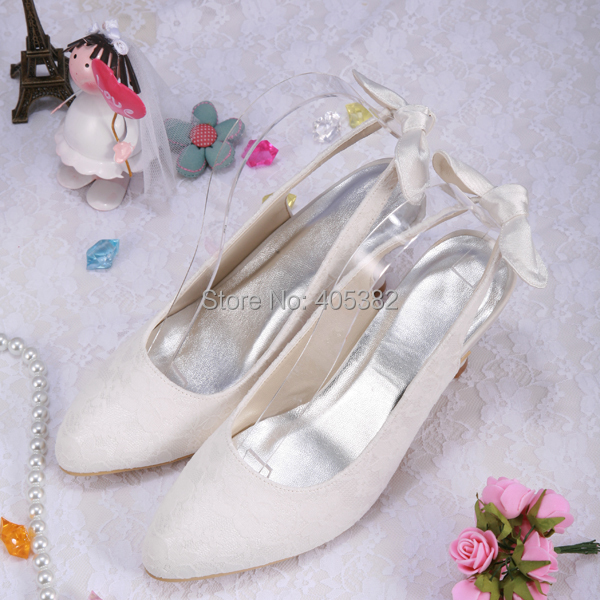 Italian Style White Ivory Lace Pointed Toe Low Heel Pumps Slingback With Back Bow<br>