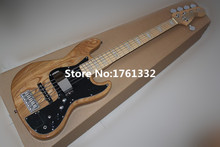 Hot sale 5 strings natural wood color electric bass guitar with active circuit,black pickguard,white pearl inlay,can be changed